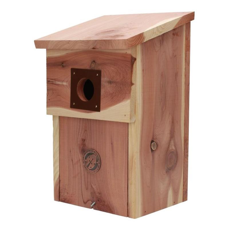 Nichoir spécial mésanges en bois Red Cedar diamètre envol 32 cm- 15x15.5x28 cm